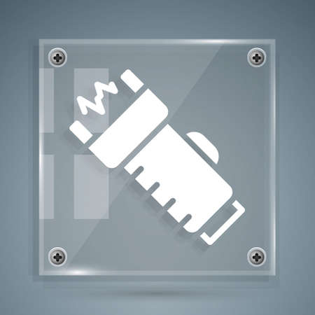 White Police electric shocker icon isolated on grey background. Shocker for protection. Taser is an electric weapon. Square glass panels. Vector 矢量图像