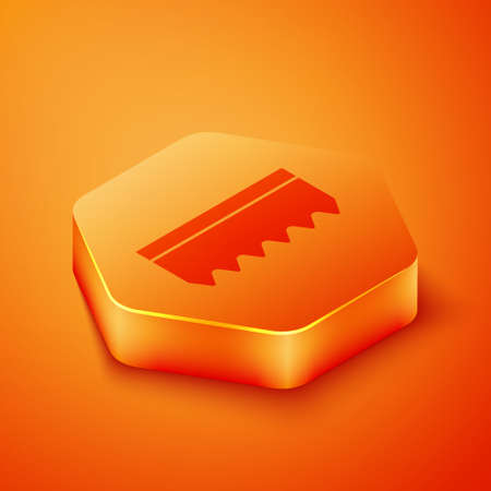 Isometric Sponge icon isolated on orange background. Wisp of bast for washing dishes. Cleaning service logo. Orange hexagon button. Vector