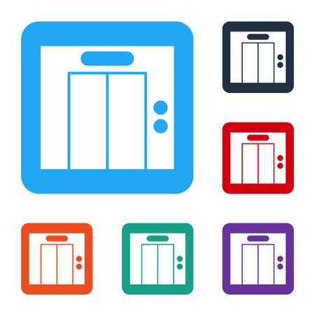 White Lift icon isolated on white background. Elevator symbol. Set icons in color square buttons. Vector Ilustrace