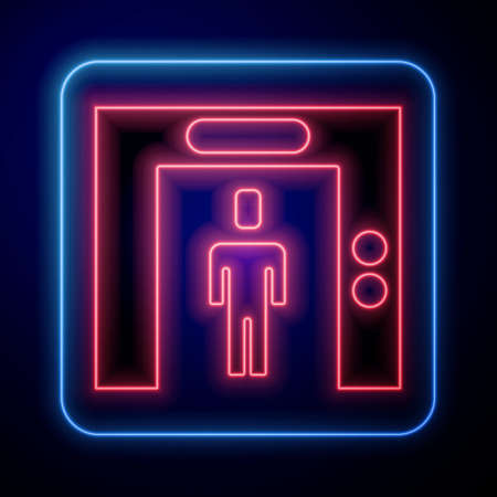 Glowing neon Lift icon isolated on blue background. Elevator symbol. Vector