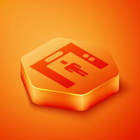 Isometric Lift icon isolated on orange background. Elevator symbol. Orange hexagon button. Vector Ilustrace