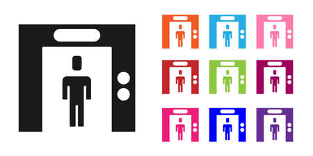 Black Lift icon isolated on white background. Elevator symbol. Set icons colorful. Vector