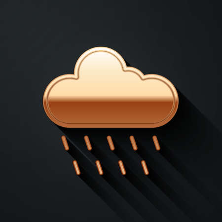 Gold Cloud with rain icon isolated on black background. Rain cloud precipitation with rain drops. Long shadow style. Vector