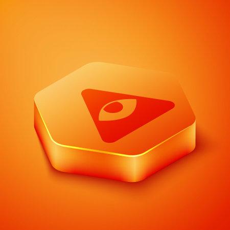 Isometric Masons symbol All-seeing eye of God icon isolated on orange background. The eye of Providence in the triangle. Orange hexagon button. Vector Illusztráció