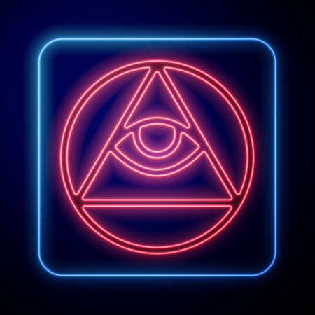 Glowing neon Masons symbol All-seeing eye of God icon isolated on blue background. The eye of Providence in the triangle. Vector Illusztráció