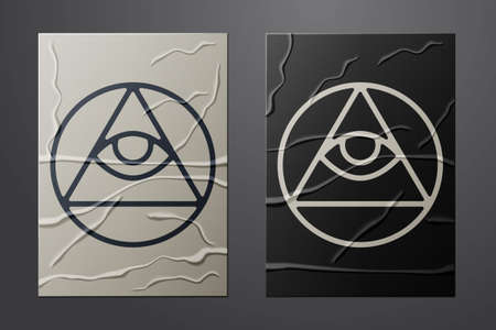 White Masons symbol All-seeing eye of God icon isolated on crumpled paper background. The eye of Providence in the triangle. Paper art style. Vector