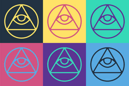 Pop art Masons symbol All-seeing eye of God icon isolated on color background. The eye of Providence in the triangle. Vector Illusztráció