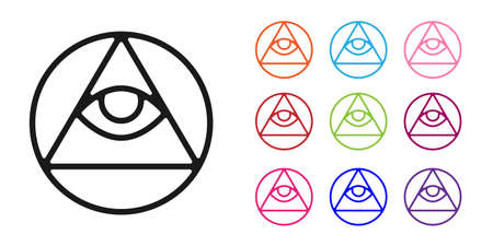Black Masons symbol All-seeing eye of God icon isolated on white background. The eye of Providence in the triangle. Set icons colorful. Vector