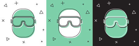 Set Ski goggles icon isolated on white and green, black background. Extreme sport. Sport equipment. Vector