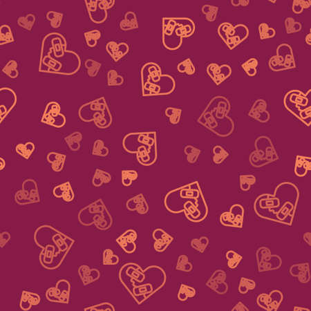 Brown line Healed broken heart or divorce icon isolated seamless pattern on red background. Shattered and patched heart. Love symbol. Valentines day. Vector