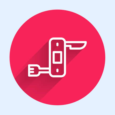 White line Swiss army knife icon isolated with long shadow. Multi-tool, multipurpose penknife. Multifunctional tool. Red circle button. Vector