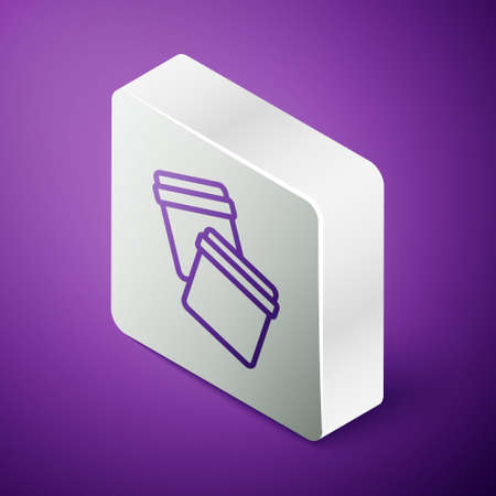 Isometric line Plastic bag with ziplock icon isolated on purple background. Silver square button. Vector