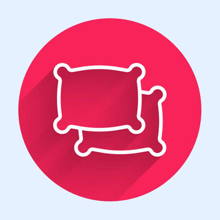 White line Rectangular pillow icon isolated with long shadow. Cushion sign. Red circle button. Vector