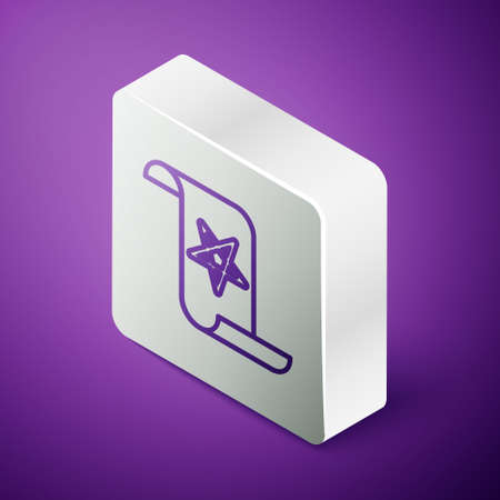 Isometric line Ancient magic book with alchemy recipes and mystic spells and enchantments icon isolated on purple background. Silver square button. Vector