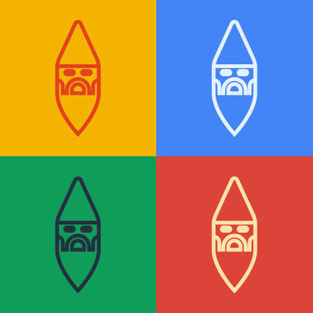 Pop art line Wizard warlock icon isolated on color background. Vector