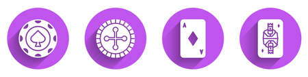 Set Casino chips, Casino roulette wheel, Playing card with diamonds and King playing card with diamonds icon with long shadow. Vector  イラスト・ベクター素材