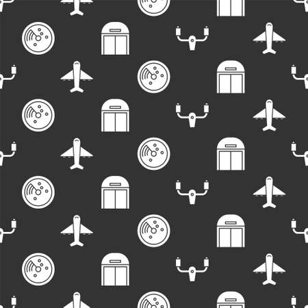 Set Aircraft steering helm, Plane, Radar with targets on monitor and Aircraft hangar on seamless pattern. Vector