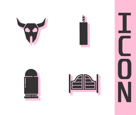 Set Saloon door, Buffalo skull, Bullet and Dynamite bomb icon. Vector Ilustrace