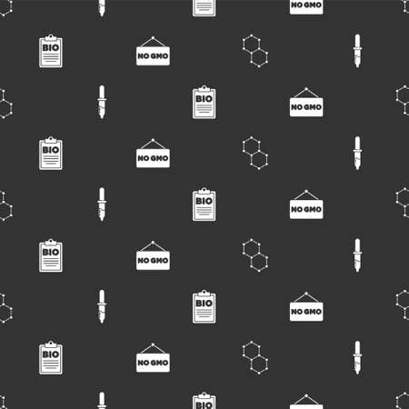 Set Chemical formula, Pipette, Document bio healthy food and No GMO on seamless pattern. Vector
