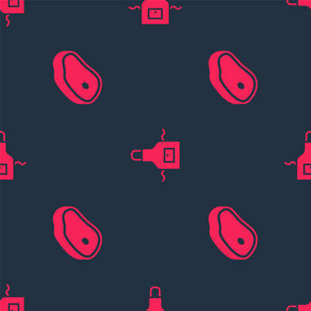 Set Steak meat and Kitchen apron on seamless pattern. Vector