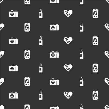 Set Healed broken heart, Dating app online, Photo camera and Wine bottle on seamless pattern. Vector Ilustração