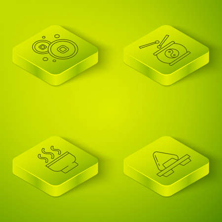 Set Isometric Chinese drum, Chinese tea ceremony, Sushi on cutting board and Chinese Yuan currency icon. Vector