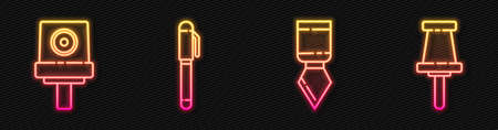 Set line Palette knife, Spray can nozzle cap, Pen and Push pin. Glowing neon icon. Vector