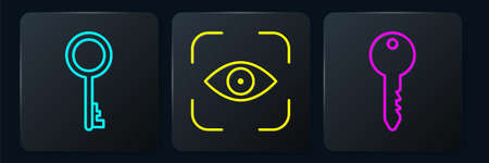 Set line Old key, Key and Eye scan. Black square button. Vector