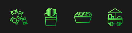 Set line Chicken nuggets in box, Candy, Potatoes french fries and Fast street food cart. Gradient color icons. Vector