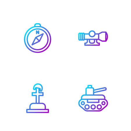 Set line Military tank, Soldier grave, Compass and Sniper optical sight. Gradient color icons. Vector