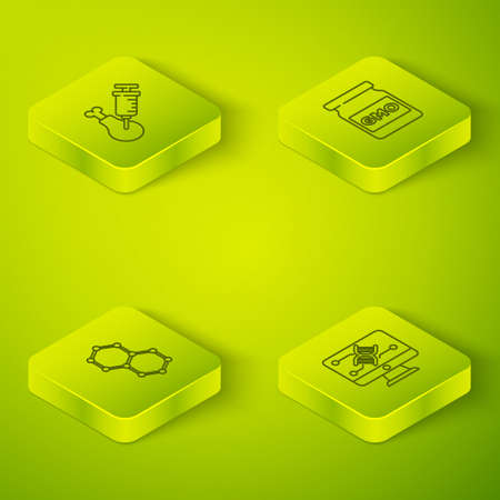 Set Isometric line GMO, Chemical formula, Genetic engineering modification and Gmo research chicken icon. Vector Vettoriali