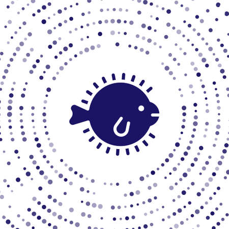 Blue Puffer fish icon isolated on white background. Fugu fish japanese puffer fish. Abstract circle random dots. Vector
