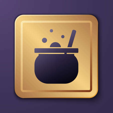 Purple Halloween witch cauldron icon isolated on purple background. Happy Halloween party. Gold square button. Vector