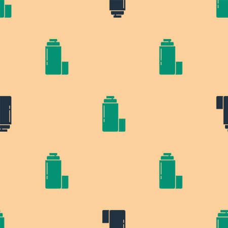 Green and black Thermo container icon isolated seamless pattern on beige background. Thermo flask icon. Camping and hiking equipment. Vector