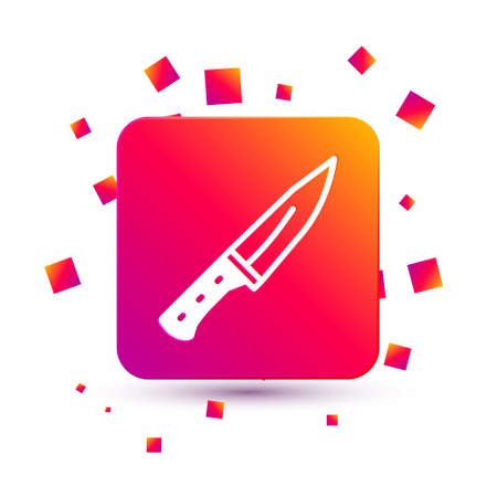 White Meat chopper icon isolated on white background. Butcher knife. Kitchen knife for meat. Butcher knife. Square color button. Vector  イラスト・ベクター素材