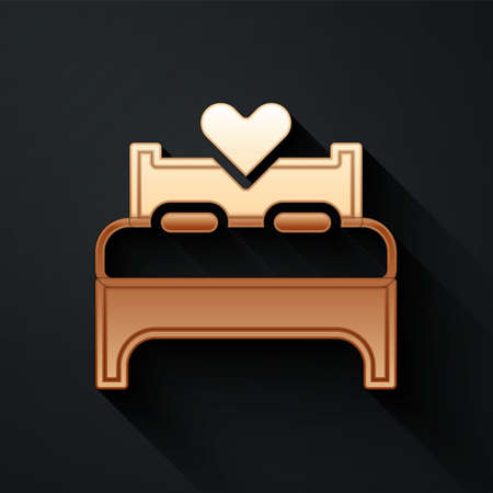 Gold Bedroom icon isolated on black background. Wedding, love, marriage symbol. Bedroom creative icon from honeymoon collection. Long shadow style. Vector