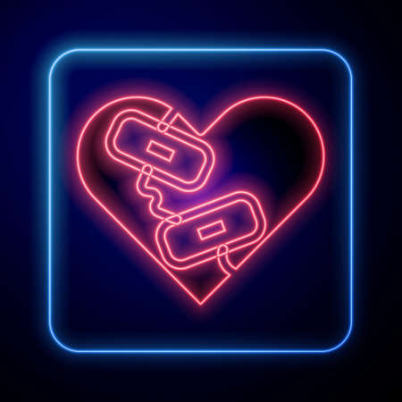 Glowing neon Healed broken heart or divorce icon isolated on blue background. Shattered and patched heart. Love symbol. Valentines day. Vector Ilustração