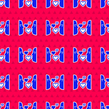 Blue Love at first sight icon isolated seamless pattern on red background. Vector