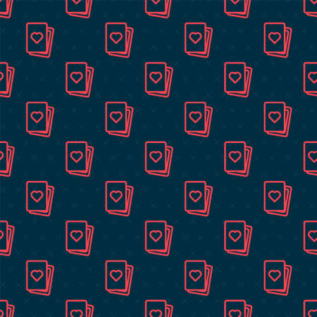Red line Deck of playing cards icon isolated seamless pattern on black background. Casino gambling. Vector