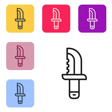 Black line Military knife icon isolated on white background. Set icons in color square buttons. Vector