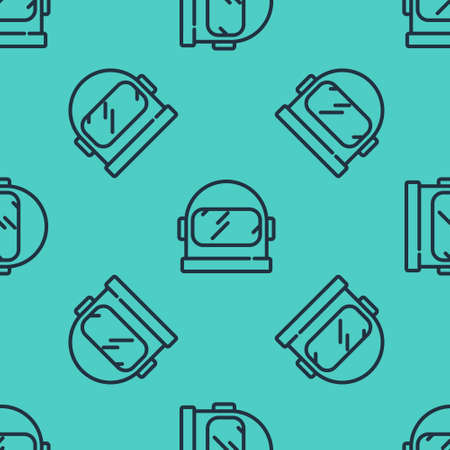 Black line Astronaut helmet icon isolated seamless pattern on green background. Vector