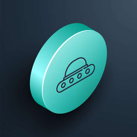 Isometric line UFO flying spaceship icon isolated on black background. Flying saucer. Alien space ship. Futuristic unknown flying object. Turquoise circle button. Vector