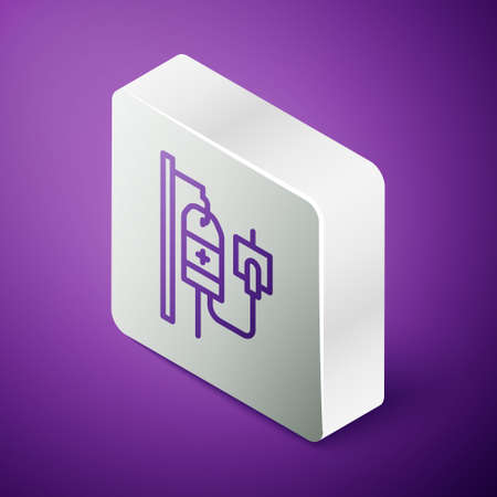 Isometric line IV bag icon isolated on purple background. Blood bag. Donate blood concept. The concept of treatment and therapy, chemotherapy. Silver square button. Vector