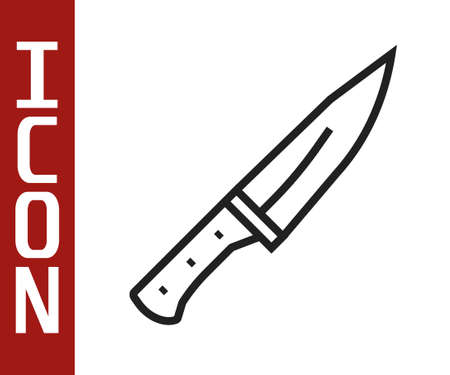 Black line Meat chopper icon isolated on white background. Butcher knife. Kitchen knife for meat. Butcher knife. Vector