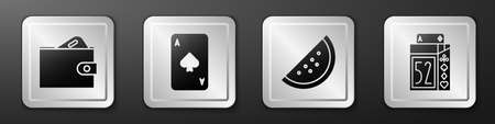 Set Wallet with money, Playing card with spades, Casino slot machine with watermelon and Deck of playing cards icon. Silver square button. Vector  イラスト・ベクター素材