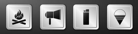 Set Campfire, Megaphone, Lighter and Fire cone bucket icon. Silver square button. Vector Ilustración de vector