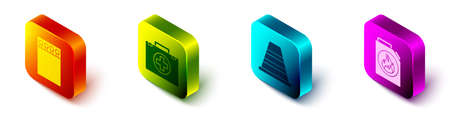 Set Isometric Open matchbox and matches, First aid kit, Traffic cone and Canister for flammable liquids icon. Vector