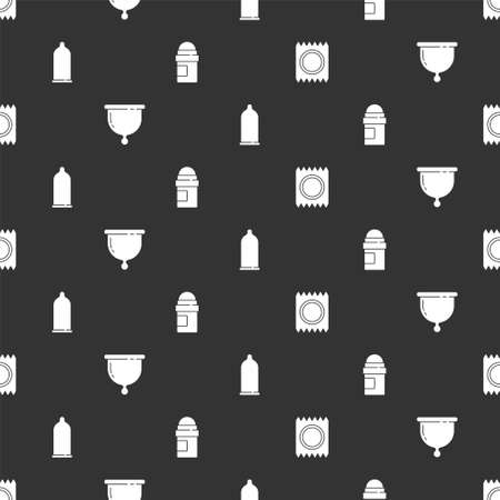 Set Condom in package safe sex, Menstrual cup, and Antiperspirant deodorant roll on seamless pattern. Vector