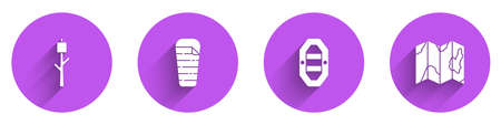 Set Marshmallow on stick, Sleeping bag, Rafting boat and Location of the forest map icon with long shadow. Vector