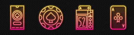 Set line Deck of playing cards, Casino poker tournament invitation, Casino chips and Playing card with clubs. Glowing neon icon. Vector